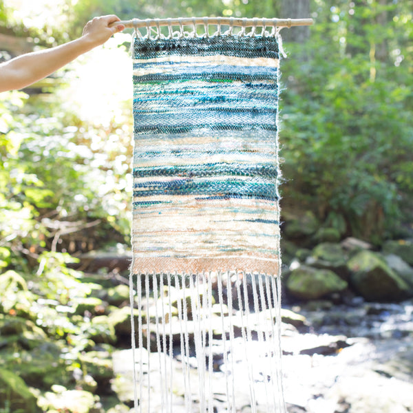 blue handwoven wall hanging Cathy McMurray