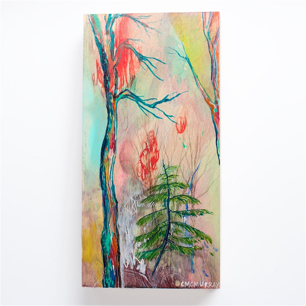 abstract colorful forest trees painting