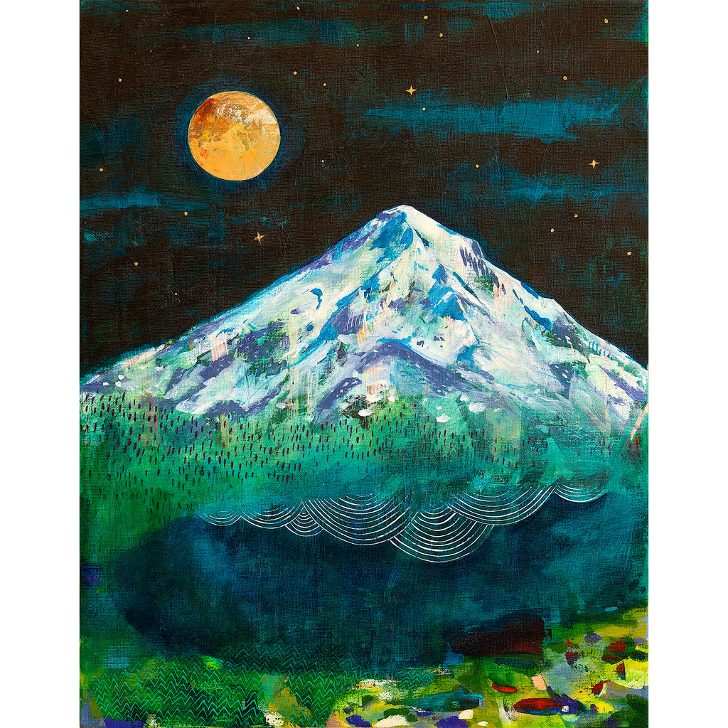 Mt. Hood at night with full moon Cathy McMurray