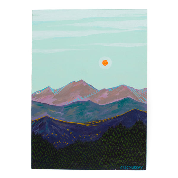 mountain range blue sky landscape painting