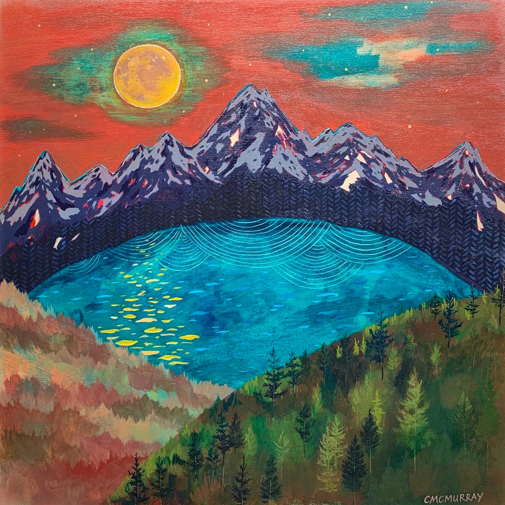 sunset nature landscape painting of mountains, forest, and lake