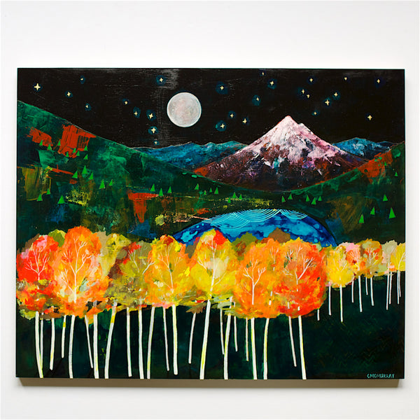 aspen mountain night scene painting