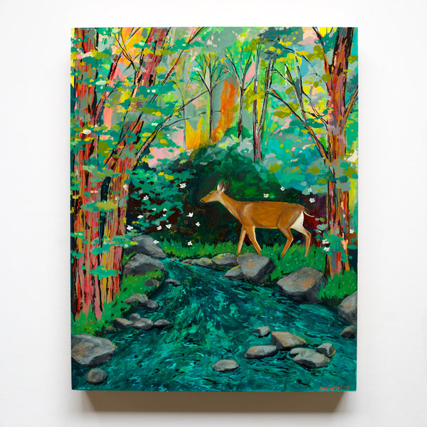 forest painting with deer and creek