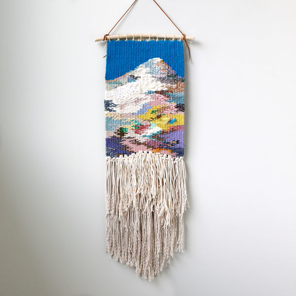 handwoven mountain wall hanging