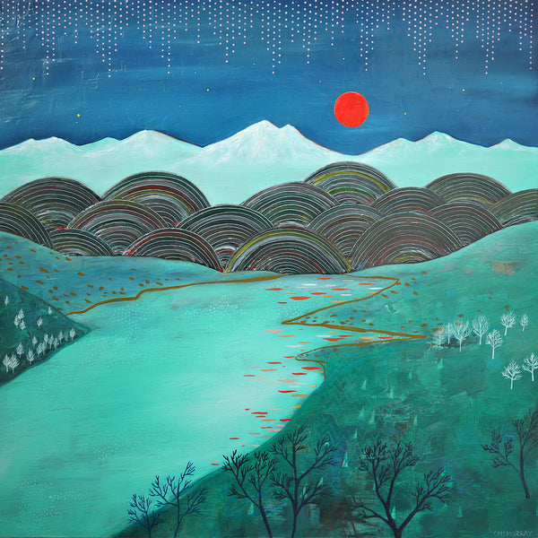 columbia gorge red moon painting