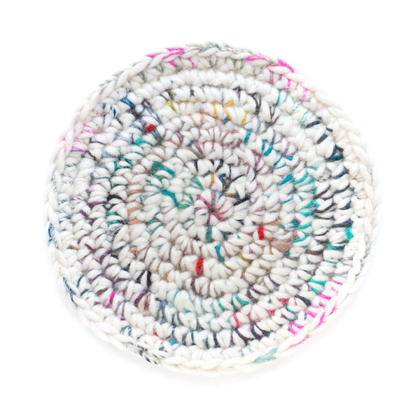 handspun crocheted wool trivet