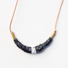 necklace with black and white clay marbled beads