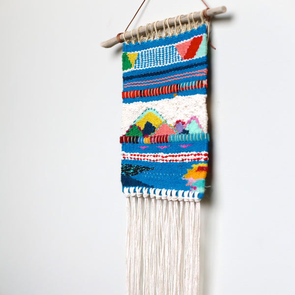 blue modern weaving wall hanging