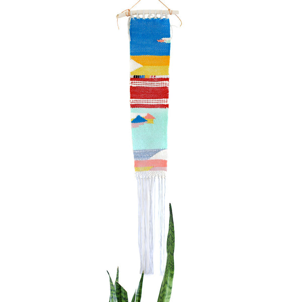 primary colors woven wall hanging
