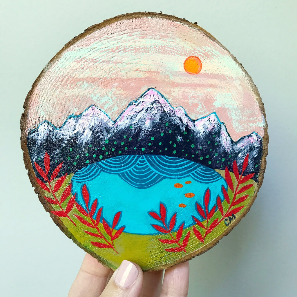 mountain and lake painting on cedar