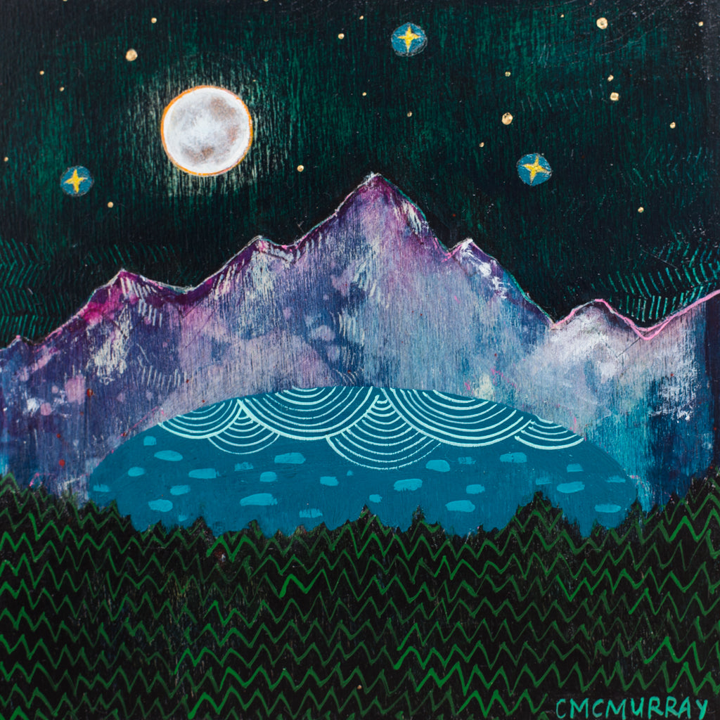purple mountains full moon night landscape painting