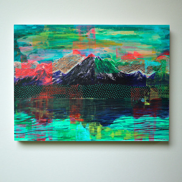neon abstract mountain painting on wall