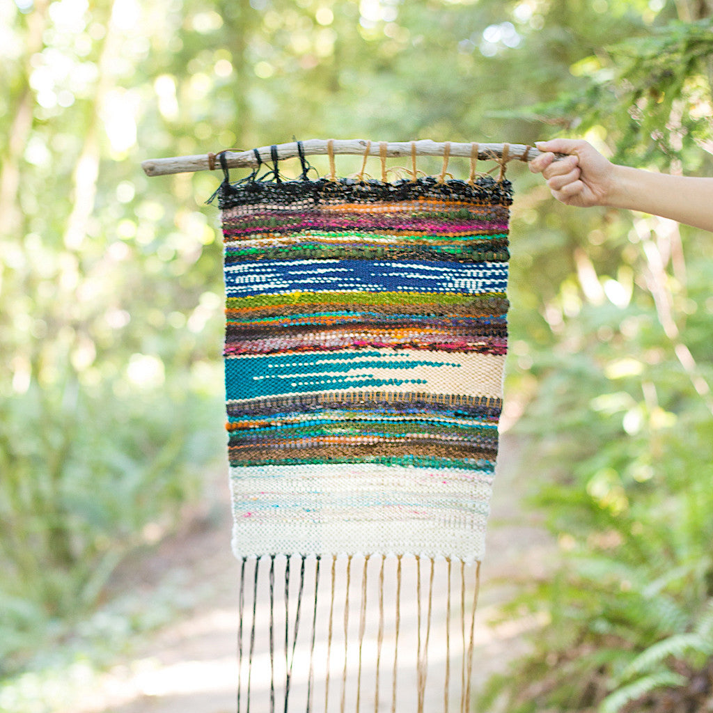 handspun handwoven wall hanging in nature
