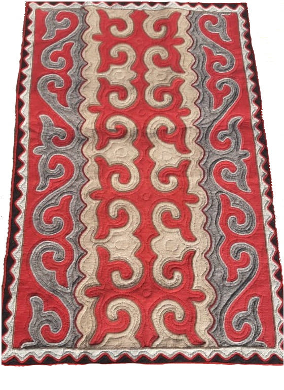 Red, Tan and Grey Felt Rug