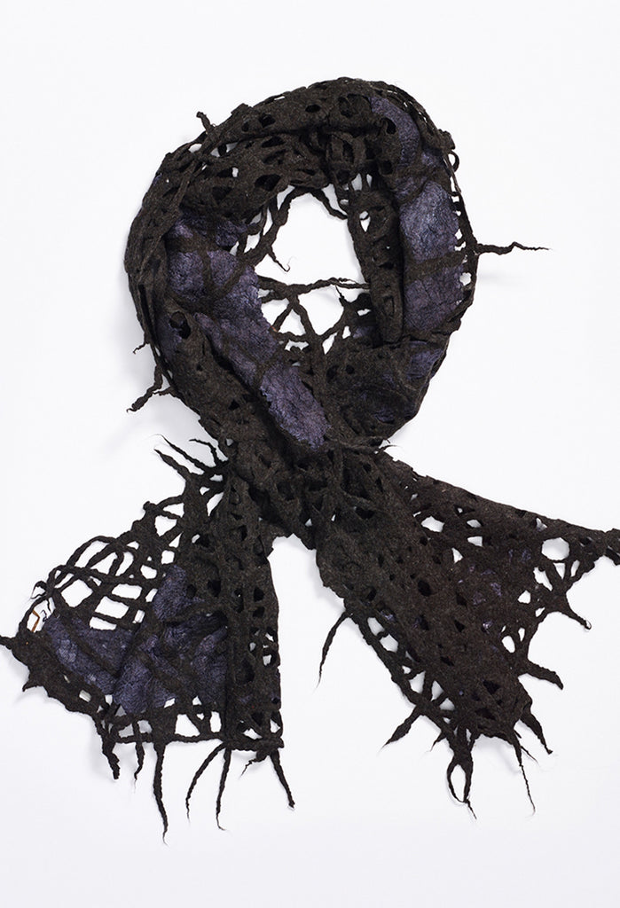 Black Felt Lace with Silk Inlays