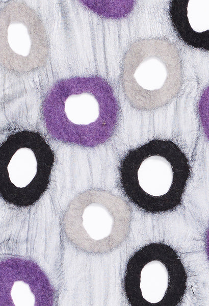 Light Purple, Black, White Felt on Silk
