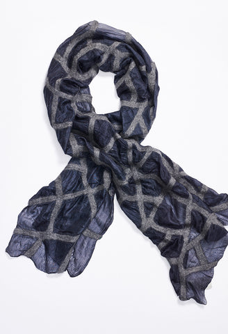 Navy Silk Scarf with Grey Felt Lines