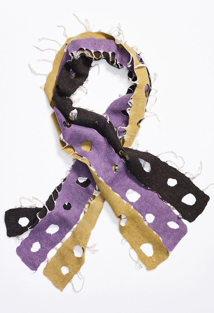 Black, Purple, Ochre Felt Scarf with Circle Cutouts