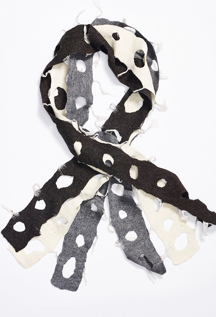 Black, Grey, White Felt Scarf with Circle Cutouts