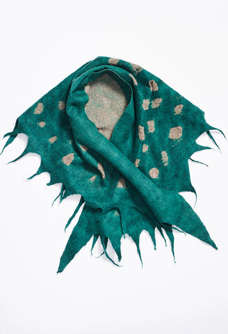 Turquoise Brushed Felt Triangle Neck Scarf with White Circles