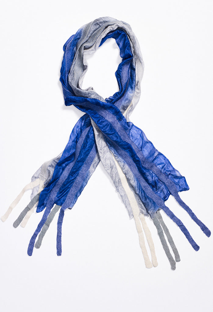 Faint Blue Fading to Blue Silk Scarf with Felt Lines