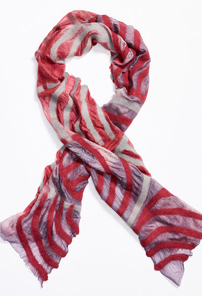 Faint Purple Fading to White then Pink Silk Scarf with Red and White Felt Lines