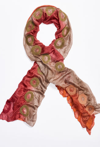 Pink, Tan, Orange Silk Scarf with Tan, Pink, and Orange Felt Circles