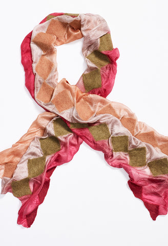 Pink, Tan, Orange Silk Scarf with Tan, Pink, and Orange Felt Diamonds