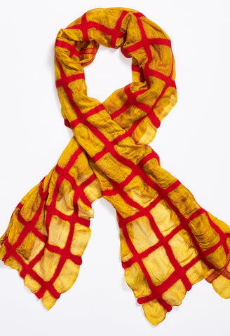 Red Grid on Yellow Silk