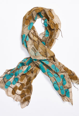 Tan Silk Scarf with Turquoise and Brown Rounded Rectangle Felt