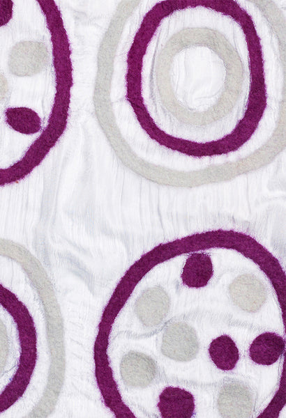 Purple Circles and Dots on White Silk