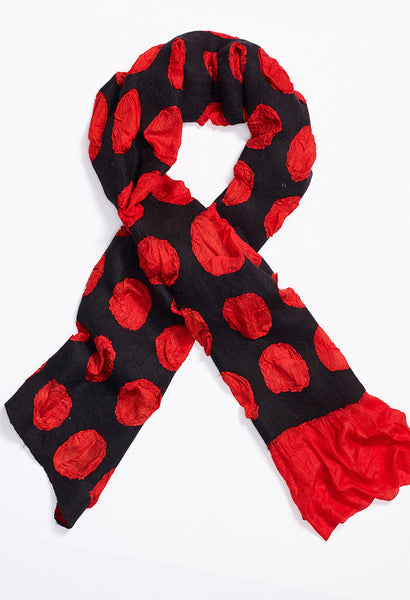 Queenie Black Felt on Red Silk