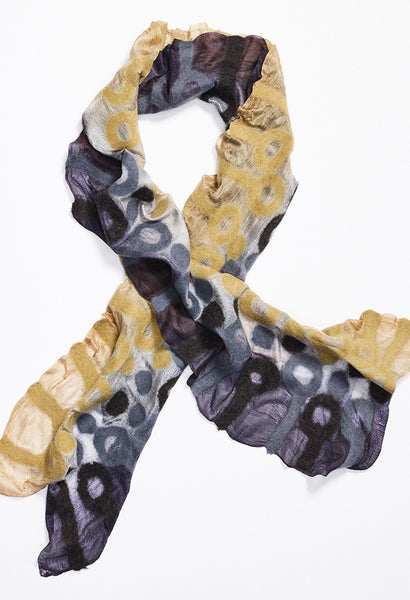 Tan Fading to Black Silk Scarf with Tan and Black Felt Circles with Lines