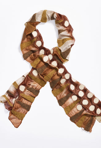 Tan, Brown Silk Scarf with Tan and Brown Felt Triangles, and White Felt Circles