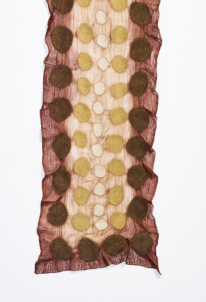 Brown Transitioning to Tan Silk Scarf with Brown, Tan and White Felt Circles
