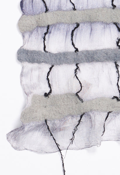 Grey and White with Knitted Threads on White and Grey Silk