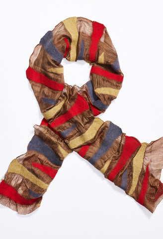 Brown Silk Scarf with Yellow, Red, and Blue Felt Triangles