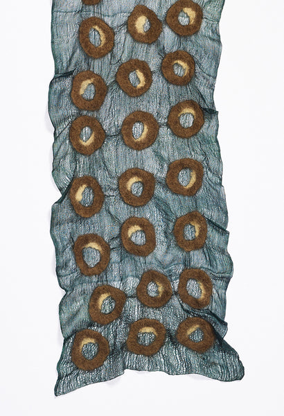 Hunter Green Silk Scarf with Light Tan and Brown Felt Circles