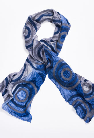 White Fading to Blue Silk Scarf with White and Blue Felt Circles