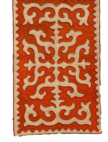 White Felt Rug with Red Pattern