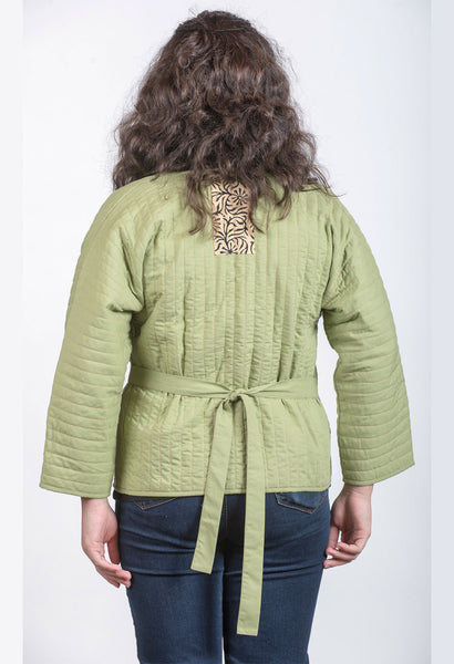 Women's Light Green Waist Jacket