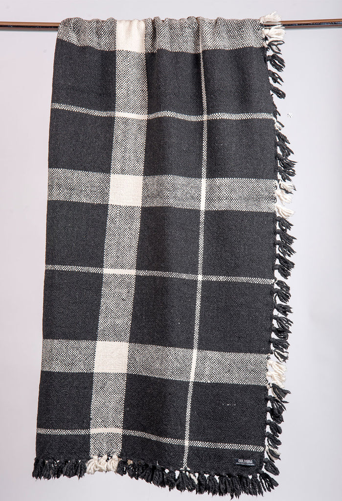 Black and White Large Checkered Knit Blanket