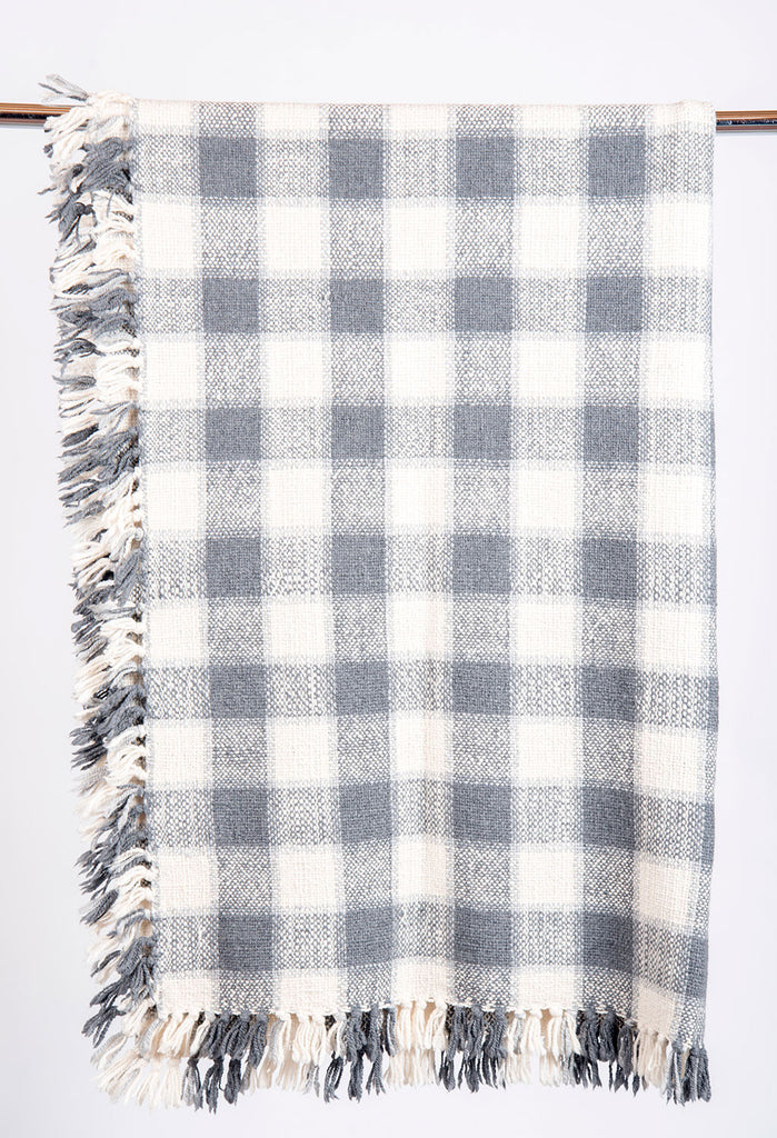 Grey and White Small Checkered Blanket