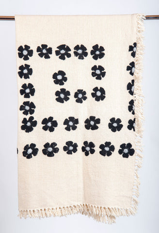 Black Flowers White Knit Blanket