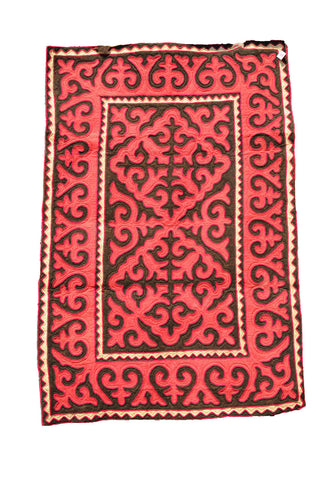Large Red and Brown Rug with Flourets