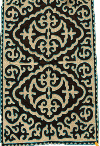 Brown Rug with White Filigree Pattern with Aqua Blue Trim