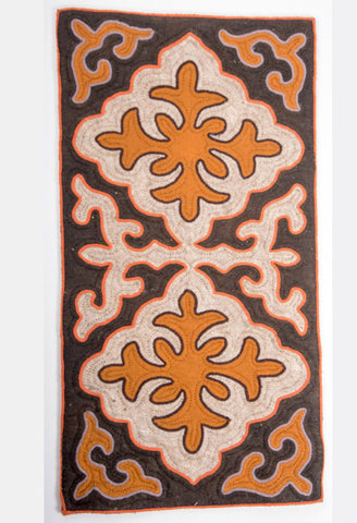 Brown Felt Rug with Orange and Off White Shapes with Orange or Purple Grey Trim