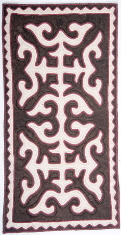 Brown Felt Rug with White Patterns with Burgundy Trim
