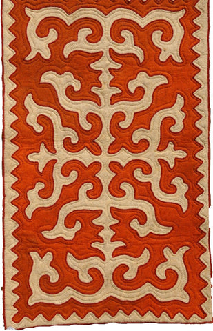 Red Felt Rug with Beige Shapes with Dark Red Trim