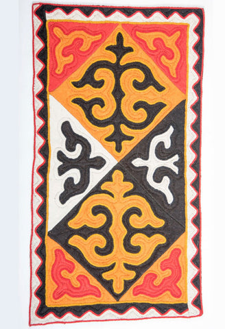 Patterned Rug with Red, Orange, Yellow and White